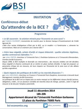 Conférence-débat sur la BCE le 11 décembre 2014 - inscrivez-vous !